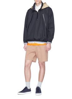Digawel Contrast hood half zip hoodie