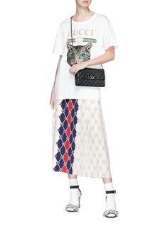 Gucci 'Gucci Rhombus' print colourblock pleated midi skirt
