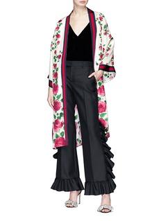 Gucci Rose garden print Web stripe silk twill kimono jacket