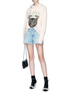 Gucci Mystic cat appliqué logo print cutoff denim shorts