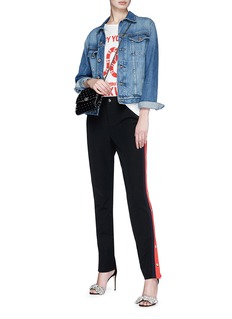 Gucci Snap button stripe outseam suiting leggings