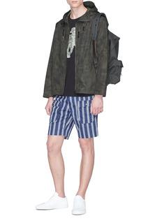 HUNTING WORLD Stripe twill cargo shorts