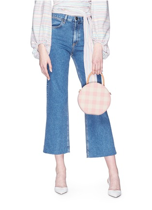 Front View - Click To Enlarge - Mansur Gavriel - 'Circle' gingham check canvas crossbody bag