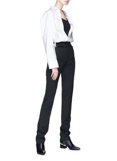Helmut Lang Buckled cutout waist wool twill pants