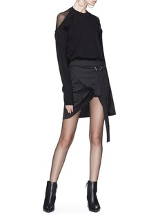 Helmut Lang 'Pull Up' buckled strap mock wrap wool twill skirt