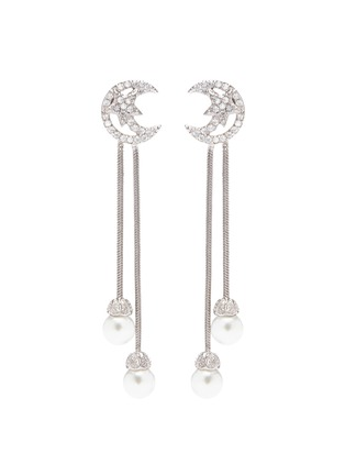 Main View - Click To Enlarge - CZ by Kenneth Jay Lane - Cubic zirconia moon stud glass pearl drop earrings