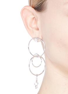 CZ by Kenneth Jay Lane Cubic zirconia tiered interlocking hoop earrings