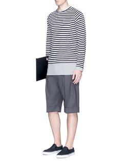 Wooster + LardiniContrast underlay stripe long sleeve T-shirt