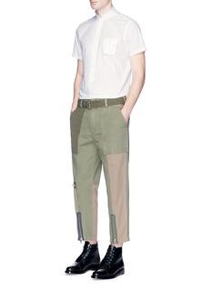 Wooster + LardiniMandarin collar stripe dobby shirt