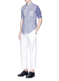 Wooster + LardiniStripe patchwork poplin shirt