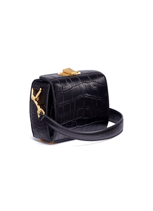 Detail View - Click To Enlarge - Alexander McQueen - 'Box Bag 16' in croc embossed leather