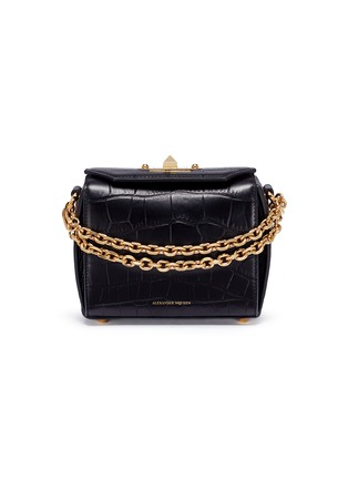 Main View - Click To Enlarge - Alexander McQueen - 'Box Bag 16' in croc embossed leather