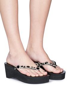 Uzurii 'Marilyn High Heel' crystal wedge thong sandals