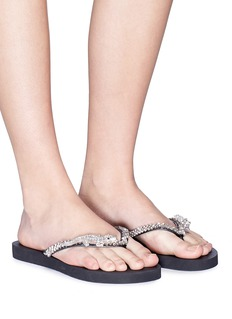 Uzurii 'Crocodile' embellished thong sandals