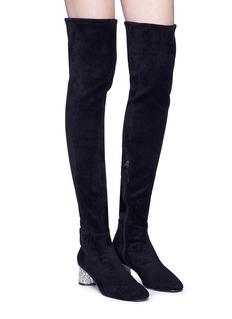 Pedder Red 'Gerry' strass heel suede thigh high boots