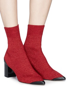 Pedder Red 'Jacob' glitter Lurex knit ankle sock boots