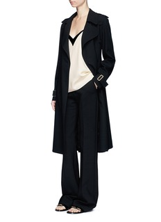 Lanvin Belted crepe double-breasted coat