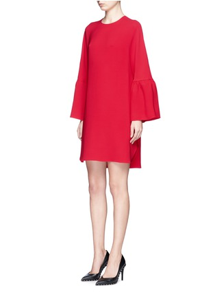 Front View - Click To Enlarge - Valentino - Ruffle sleeve Crepe Couture dress