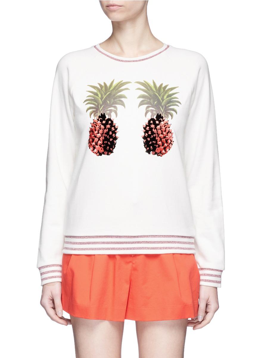Flocked velvet glitter pineapple print sweatshirt by Giamba