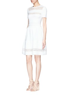 Oscar de la Renta Ruffle floral lace stripe knit dress