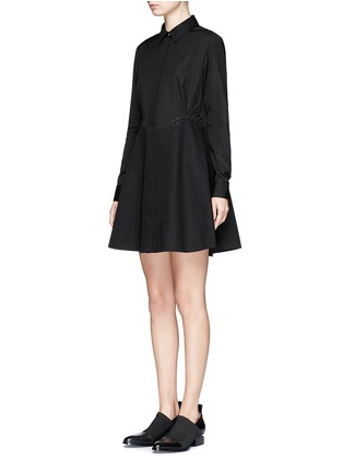 Front View - Click To Enlarge - Alexander Wang  - Lace-up shirt dress