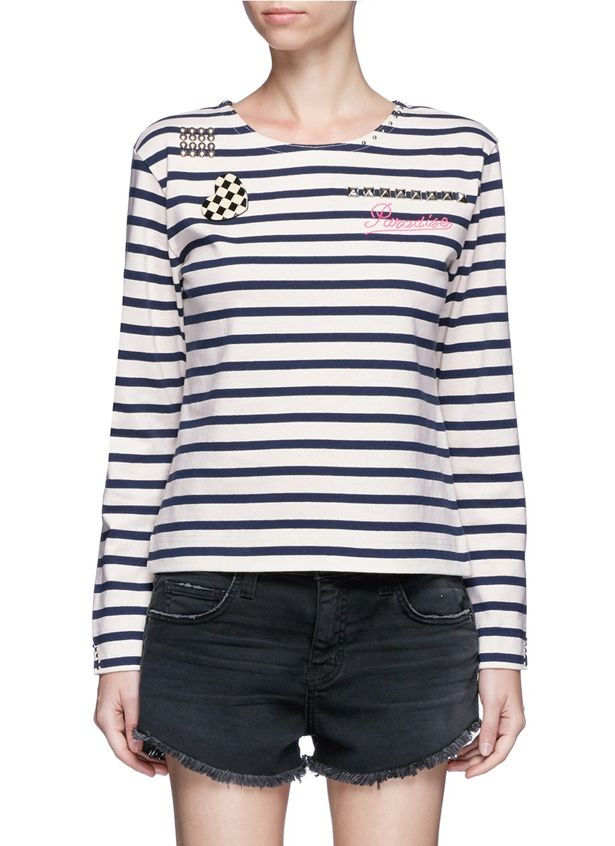 Embellished Breton stripe top by Marc Jacobs