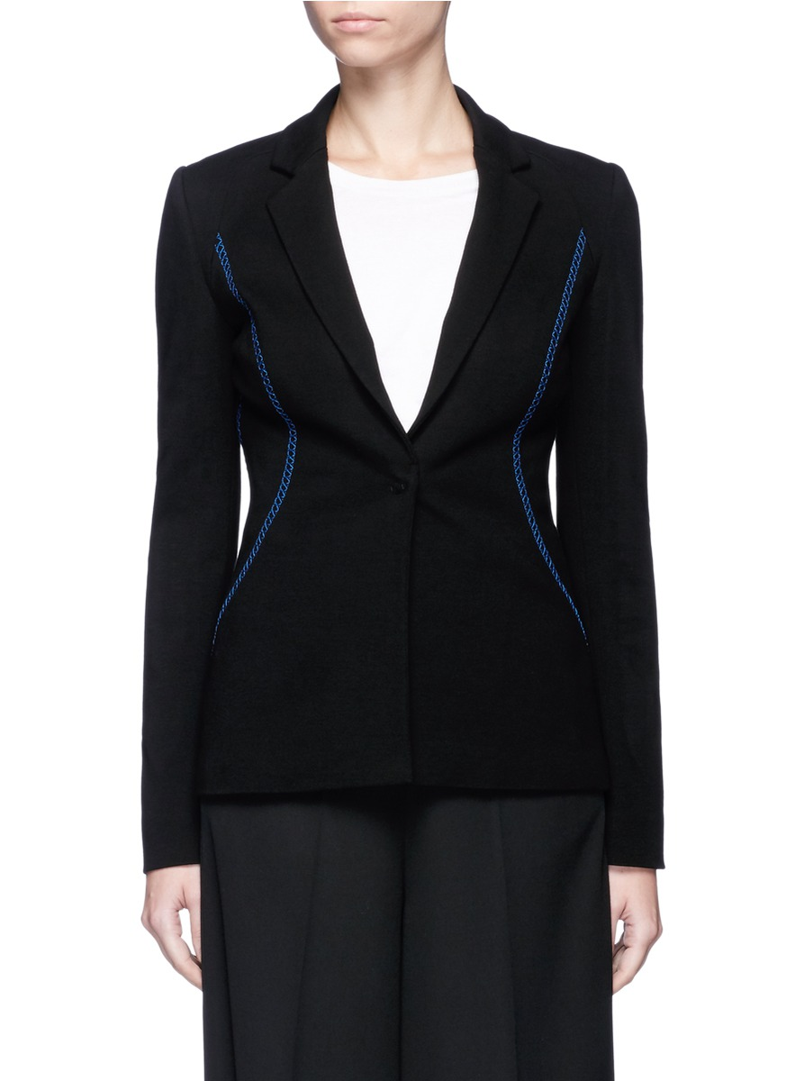 Contrast topstitch stretch suiting jacket by Emilio Pucci