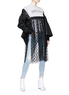 FURUGI-NI-LACE Graphic print lace panel T-shirt dress