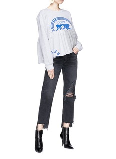 FURUGI-NI-LACE Graphic print flared hem sweatshirt