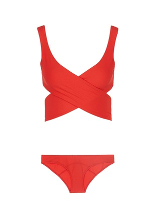 Main View - Click To Enlarge - Lisa Marie Fernandez - 'Marie-Louise' crepe wraparound bikini set