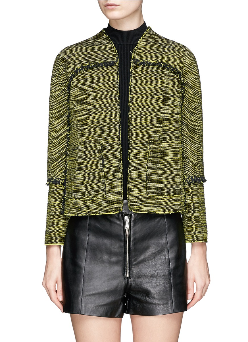 Lady fringed contrast tweed jacket by Proenza Schouler