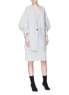 ANIRAC 褶裥灯笼袖暗纹西服外套