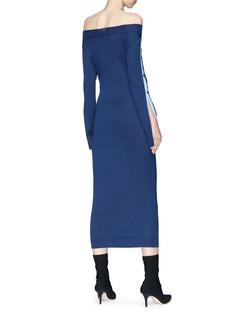 ANIRAC 钮扣衣袖一字领针织连衣裙