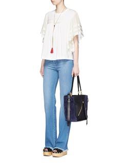 ChloéRuffle crépon sleeve grosgrain stripe T-shirt