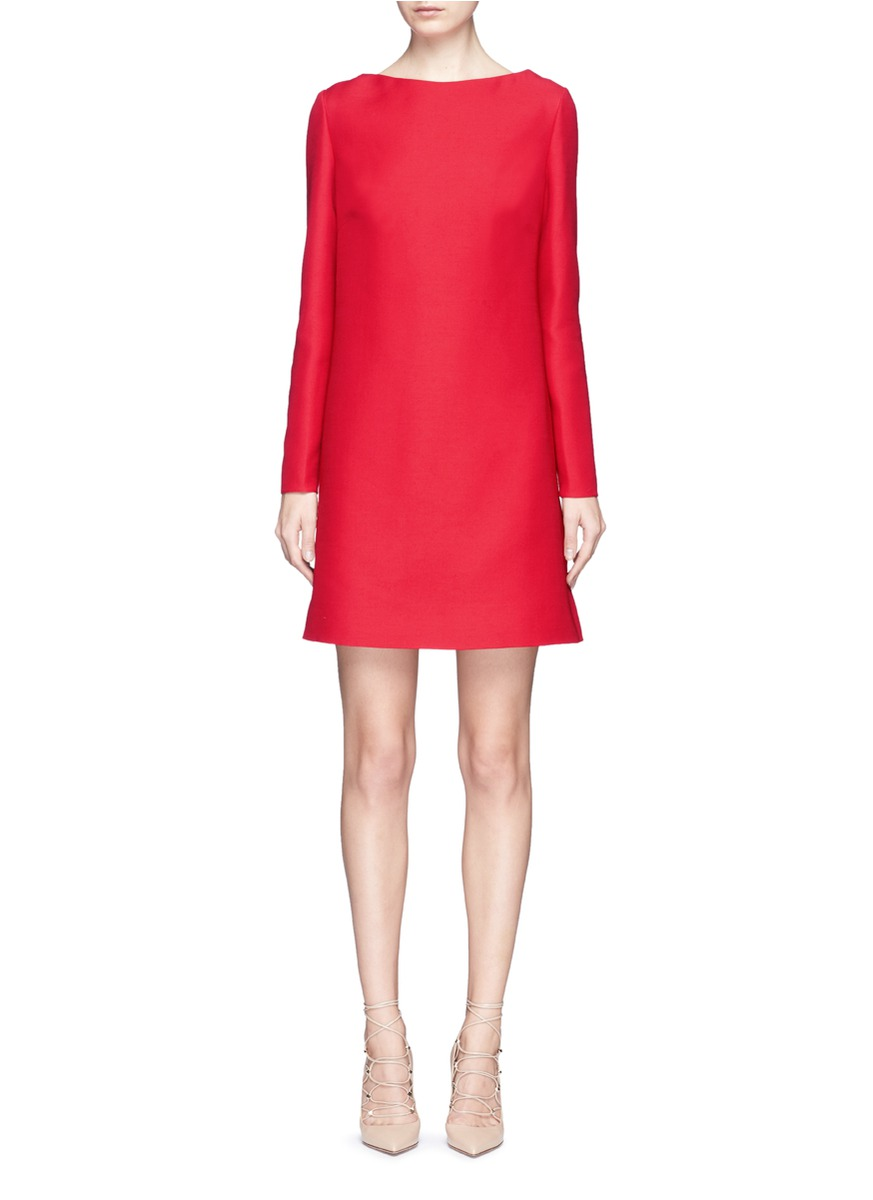 Bow drape back virgin wool-silk crepe dress by Valentino