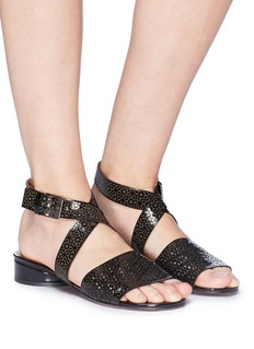 Robert Clergerie 'Fasso' embossed cross strap lasercut patent leather sandals