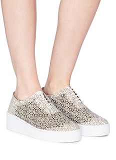 Robert Clergerie 'Tasso' lasercut patent leather platform sneakers