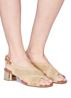 Robert Clergerie 'Laora' cross strap raffia slingback sandals