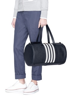 Thom Browne Stripe pebble grain leather tote bag