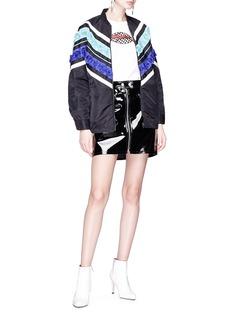 Minki Floral appliqué chevron stripe print bomber jacket