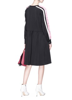 Minki Floral appliqué colourblock dress