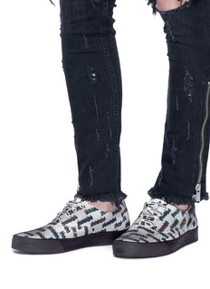 Palm Angels 'Distressed Burning Logo' print canvas sneakers