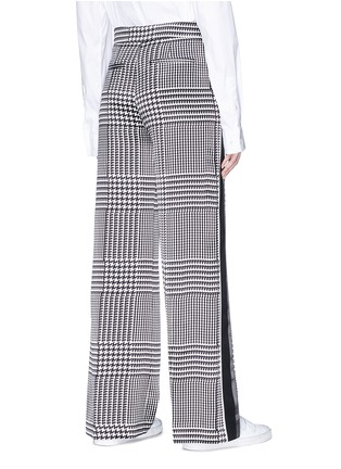 Back View - Click To Enlarge - VICTORIA, VICTORIA BECKHAM - Stripe outseam houndstooth print silk satin pants