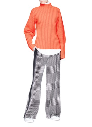 Figure View - Click To Enlarge - VICTORIA, VICTORIA BECKHAM - Stripe outseam houndstooth print silk satin pants