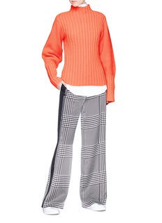 VICTORIA, VICTORIA BECKHAM Stripe outseam houndstooth print silk satin pants