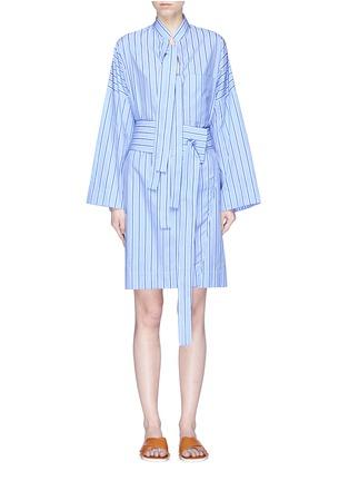 Main View - Click To Enlarge - VICTORIA, VICTORIA BECKHAM - Sash tie stripe print shirt dress