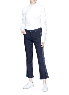 VICTORIA, VICTORIA BECKHAM Stripe outseam cropped flared jeans