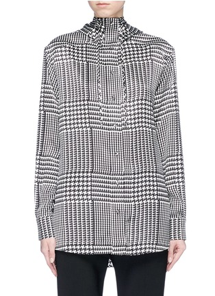Main View - Click To Enlarge - VICTORIA, VICTORIA BECKHAM - Houndstooth print hooded silk satin shirt