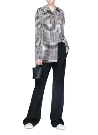 Figure View - Click To Enlarge - VICTORIA, VICTORIA BECKHAM - Houndstooth print hooded silk satin shirt