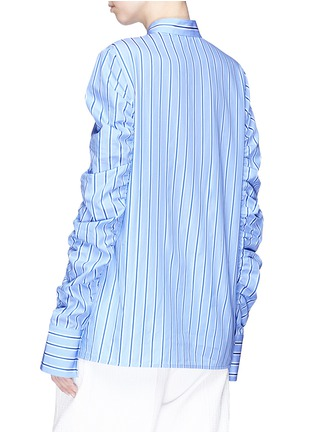 Back View - Click To Enlarge - VICTORIA, VICTORIA BECKHAM - Ruched sleeve stripe shirt